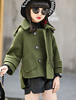 cheap -Girls' Solid Jacket & Coat Army Green Blue