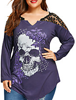 cheap -Women's Daily Holiday Street chic Winter Fall T-shirt,Print V Neck Long Sleeve Polyester