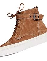 Недорогие -Для женщин Обувь Флис Зима Армейские ботинки Ботинки На плоской подошве Круглый носок Сапоги до середины икры для Повседневные Черный