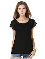 cheap -Women's Going out Cute Active Sexy Street chic All Seasons Blouse,Solid Round Neck Short Sleeve Polyester Medium