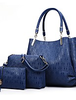 preiswerte -Damen Taschen PU Bag Set 3 Stück Geldbörse Set Rüschen Reißverschluss für Alle Jahreszeiten Blau Gold Schwarz Rote