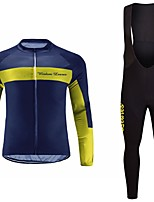 cheap -Cycling Jersey with Bib Tights Unisex Long Sleeves Bike Jersey Clothing Suits Bike Wear Fast Dry Geometric Cycling / Bike Blue+Yellow