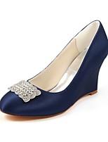 abordables -Mujer Zapatos Satén Elástico Primavera Otoño Pump Básico Zapatos de boda Tacón Cuña Dedo redondo Cristal para Vestido Fiesta y Noche Azul