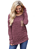 cheap -Women's Daily Sophisticated All Seasons T-shirt,Print Round Neck Long Sleeve Polyester