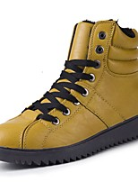 cheap -Men's Shoes Leather Winter Comfort Sneakers for Casual Yellow Black White