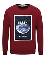 cheap -Men's Petite Casual/Daily Street chic Sweatshirt Print Letter Round Neck Without Lining Micro-elastic Polyester Long Sleeves Winter Fall