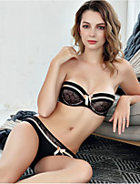 cheap -Women's Demi-cup Bras & Panties Sets Push-up Underwire Bra,Cotton Rayon Khaki Red Black White