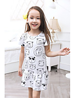 Girl's Casual/Daily Patterned Dress,Polyester Spring Summer Short Sleeves Simple White