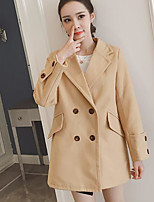 cheap -Women's Daily Casual Fall Trench Coat,Solid Shirt Collar Long Sleeve Regular Cotton Patchwork