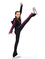 cheap -Over The Boot Figure Skating Tights Figure Skating Jacket with Pants Women's Girls' Ice Skating Pants / Trousers Tracksuit Top Black