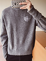 cheap -Men's Casual/Daily Simple Regular Pullover,Solid Crew Neck Long Sleeves Polyester Spring Fall Thin Stretchy