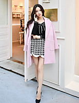 cheap -DABUWAWA Women's Going out Casual/Daily Simple Active Street chic Winter Coat,Solid Print Peaked Lapel Long Sleeve Long Wool Polyester