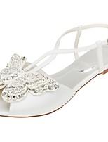 economico -Da donna Scarpe Raso elasticizzato Estate Comoda scarpe da sposa Piatto Occhio di pernice Lustrini per Formale Serata e festa Avorio