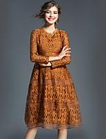 Недорогие -Для женщин На выход Винтаж На каждый день А-силуэт Платье Однотонный,Круглый вырез Средней длины Длинные рукава Полиэстер Осень Со