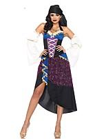 abordables -Lolita Clásica y Tradicional Princesa Mujer Accesorios Cosplay Púrpura Claro Floral Hombro frío Manga Larga Asimétrica