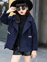 cheap -Girls' Solid Jacket & Coat Navy Blue