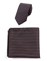 cheap -Men's Polyester Necktie,Simple Casual Striped All Seasons Brown