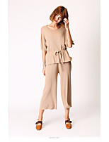 Feminino Suéter Calça Conjuntos Para Noite Simples Outono,Sólido Acrílico Decote Redondo Metade da luva