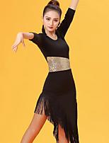 Latin Dance Dresses Women's Performance Ice Silk Tassel(s) 3/4 Length Sleeve Natural Dresses