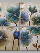 Недорогие -Ручная роспись Цветочные мотивы/ботанический Modern Холст Hang-роспись маслом Украшение дома 4 панели