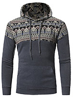 cheap -Men's Going out Casual/Daily Hoodie Solid Hooded Micro-elastic Cotton Long Sleeves Spring/Fall Fall