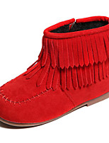 cheap -Girls' Shoes Nubuck leather Winter Fall Comfort Fashion Boots Boots Walking Shoes Booties/Ankle Boots Tassel for Casual Red Brown Black