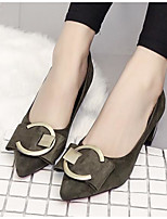 Women's Shoes Nubuck leather Spring Fall Comfort Heels Chunky Heel for Casual Khaki Red Army Green Black