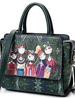 cheap -Women Bags PU Polyester Tote Pattern / Print Zipper for Casual All Season Dark Green