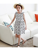 Girl's Holiday Casual/Daily Polka Dot Dress,Polyester Summer Sleeveless Simple Cute White