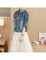 cheap -Women's Daily Casual Winter Fall Denim Jacket,Solid Print Shirt Collar Long Sleeve Short Cotton