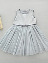 Girl's Casual/Daily Solid Dress,Polyester Spring Summer Sleeveless Simple Blushing Pink Gray