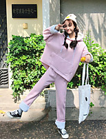 Women's Casual/Daily Simple Fall Hoodie Pant Suits,Solid One Shoulder Long Sleeve Ruffle Polyester Micro-elastic