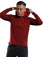 economico -Per uomo T-shirt da corsa Manica lunga Asciugatura rapida Traspirabilità Senza cuciture Leggero Elastico Morbidezza Felpa con cappuccio