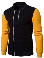 Men's Casual/Daily Sweatshirt Color Block Stand Micro-elastic Cotton Long Sleeve Winter Spring/Fall
