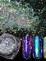 cheap -1pc Broken Glass Effect Laser Holographic Chameleon Powder Nail Glitter Glitter Powder As Picture Nail Art Design Nail Art Tips