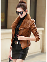 cheap -Women's Daily Casual Winter Fall Leather Jacket,Solid Square Neck Long Sleeve Regular PU