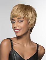 Недорогие -жен. Человеческие волосы без парики Черный Medium Auburn Бежевый Blonde // Bleach Blonde Короткий Прямой силуэт Боковая часть