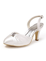cheap -Women's Shoes Silk Spring Summer Basic Pump Wedding Shoes Stiletto Heel Closed Toe Rhinestone for Wedding Party & Evening White