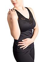 abordables -Haut de Patinage Artistique Femme Fille Patinage Hauts/Top Noir Extensible Utilisation Exercice Tenue de Patinage Couleur Pleine Sans