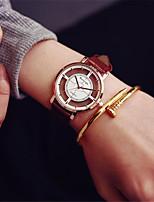 abordables -Hombre Mujer Reloj Deportivo Reloj de Moda Reloj Esqueleto Chino Cuarzo Cronógrafo Reloj Casual Piel Banda Casual Negro Blanco Marrón