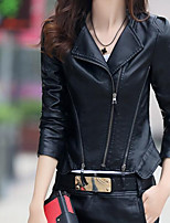 cheap -Women's Going out Street chic Winter Fall Leather Jacket,Solid Peter Pan Collar Long Sleeve Regular PU