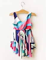cheap -Girl's Daily Going out Striped Dress,Cotton Summer Sleeveless Casual Active Rainbow