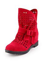 Недорогие -Для женщин Обувь Флис Зима Осень Модная обувь Ботильоны Ботинки Плоские Круглый носок Ботинки Сапоги до середины икры Бант для Для
