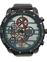 Недорогие -Муж. Наручные часы Уникальный творческий часы Китайский Кварцевый Крупный циферблат сплав Кожа Группа Винтаж Cool Черный