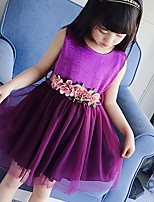 cheap -Girl's Going out Solid Dress,Polyester Summer Sleeveless Cute Purple