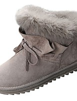 cheap -Women's Shoes PU Spring Fall Comfort Boots Flat for Outdoor Khaki Gray Black