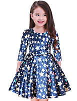 cheap -Girl's Casual/Daily Galaxy Dress,Cotton Polyester Spring, Fall, Winter, Summer 3/4 Length Sleeves Simple Navy Blue