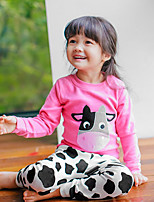 cheap -Girls' Texture Sleepwear,Polyester Long Sleeves Cartoon Blushing Pink Blue