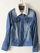 cheap -Women's Going out Simple Winter Fall Denim Jacket,Color Block Shirt Collar Long Sleeve Regular Cotton Patchwork