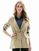 cheap -Women's Daily Vintage Spring Fall Trench Coat,Solid V Neck Long Sleeve Regular Cotton Acrylic